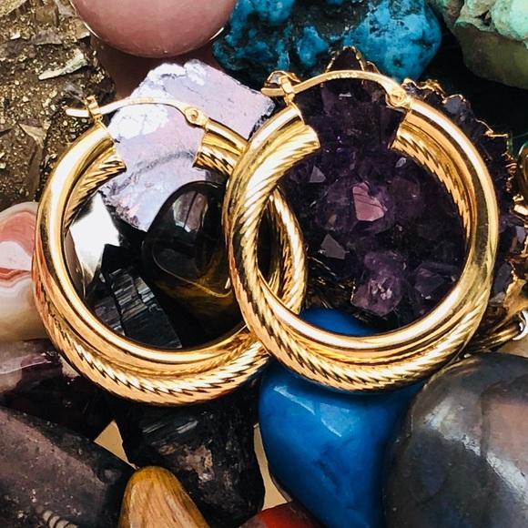 Jewelry - 14k Yellow Gold Textured Double Hoop Earrings